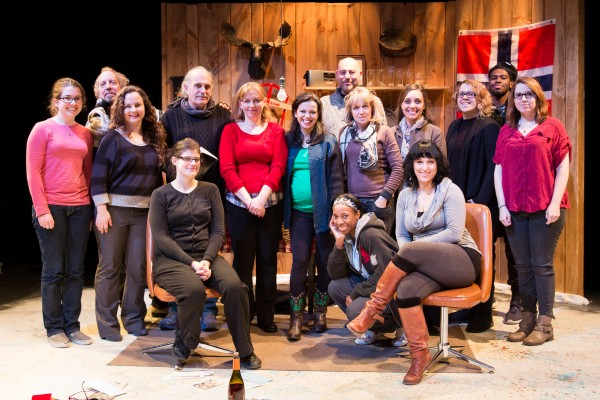 The cast and crew of Scena Theatre's production of 'The Norwegians'.